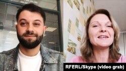 Софія Вовк під час Skype-інтерв'ю з журналістом Радіо Свобода