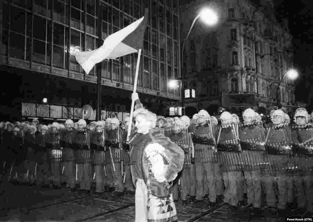 The turning point came on November 17, 1989, then observed as International Students' Day and a commemoration of Nazi forces' killing of a student 50 years earlier. In the largest protest in 20 years, thousands of students marched peacefully through the city center until they were stoppedat Narodni (National) Street by a cordon of riot police.