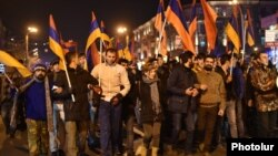 Armenia - Supporters of the New Armenia Public Salvation Front demonstrate in Yerevan, 2Dec2015.