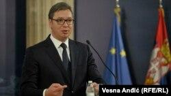 Presidenti serb, Aleksandar Vuçiq gjatë konferencës për media në Beograd. 7 gusht, 2018