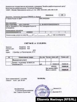 Счет за реабилитацию Дмитрия Измайлова
