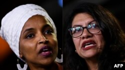 رشیده طلیب (راست) و الهان عمر دو عضو مسلمان کانگرس امریکا