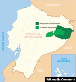Национальный парк Ясуни на карте Эквадора