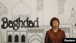 The genuine article, of European Union foreign policy chief Catherine Ashton after the meeting in Baghdad on May 24