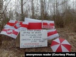 Белоозерск (Белаазёрск) жергесиндеги нааразылык чарасындагы ураандар менен желектер. Беларус. 2021-жылдын 21-марты.