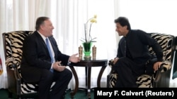 U.S. Secretary of State Mike Pompeo meets with Pakistani Prime Minister Imran Khan in Washington, D.C., on July 23.