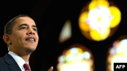 Барак Обама экономика жөнүндө Жоржтаун университетинде сүйлөп жаткан учур. Вашингтон, 14-апрель, 2009-ж.
