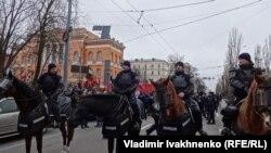Конная полиция на улицах Киева.