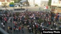Протест против полициската бруталност во Скопје. Фото: @godovic