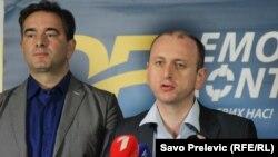 Poslanici opzicionog Demokrtskog fronta Nebojša Medojević i Milan Knežević