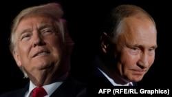 Владимир Путин (справа) и Дональд Трамп, коллаж.
