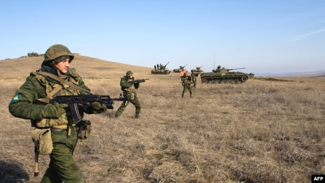 Russian soldiers training near the village of Tatarka. The Russian military has been plagued by reports of hazing and abuse.