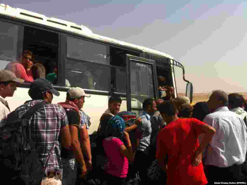 After being registered near the border, the refugees are transported to camps in Irbil and Sulaymaniyah provinces, both in the autonomous Kurdish region.