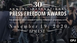 2020 CPJ Internaitonal Press Freedom Awards graphic