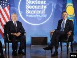 ABŞ prezidenti Barak Obama Qazaxıstan prezidenti Nursultan Nazarbayevlə görüşür, Washington, 11 aprel 2010
