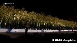 Armenia -- Pine trees in Republic Square. 21Sept.,2021