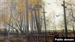Фрагмэнт карціны Генрыка Вайсэнгофа «Беларускія могілкі. Русаковічы». 1889 год