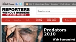 A screenshot from the website of media watchdog Reporters Without Borders 2010