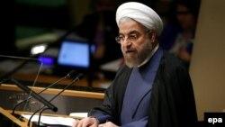 Иран президенті Хассан Роухани БҰҰ Бас ассамблеясында сөйлеп тұр. Нью-Йорк, 25 қыркүйек 2014 жыл.