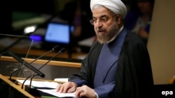 U.S. -- Iranian President Hassan Rohani speaks during the general debate of the 69th session of the United Nations General Assembly at the UN headquarters in New York, September 25, 2014