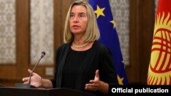 Верховный представитель Европейского союза по иностранным делам и политике безопасности Федерика Могерини. Бишкек, 7 июля 2019 года.