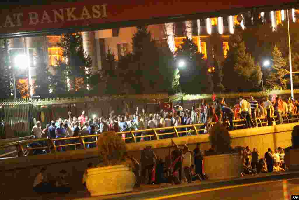 People took to the streets in Ankara to protest the attempted coup.