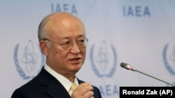 AUSTRIA -- Director General of the International Atomic Energy Agency, IAEA, Yukiya Amano addresses the media during a news conference after a meeting of the IAEA board of governors at the International Center in Vienna, November 23, 2017