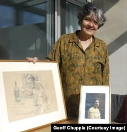 Miriam Kauders egy, a művész által az apjáról készített ceruzarajzzal