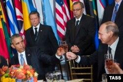 Обама и Путин на банкете в ООН после выступления на сессии Генеральной ассамблеи