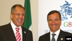Italian Foreign Minister Franco Frattini (right) and his Russian counterpart Sergei Lavrov ahead of the G8 summit in Trieste.