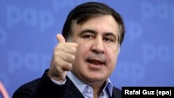 Former Georgian President Mikheil Saakashvili speaks during a press conference in Warsaw on September 8.