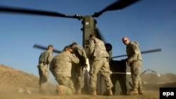 U.S. soldiers receive supplies in a remote outpost in Khost Province. (file photo)