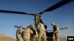 U.S. Army troops receive an ammunition re-supply via helicopter in Afghanistan's Khost Province in November.