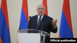 Armenia -- President Armen Sarkissian speaks during an official ceremony at the presidential palace in Yerevan.