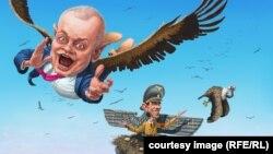 Karikatura Andreja Levčenka na temu informacione kampanje Rusije -
