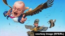 Карикатура Андрія Левченка. «Пташеня Геббельса – Дмитро Кисельов»
