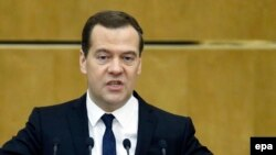 Прем'єр-міністр Росії Дмитро Медведєв під час звіту про роботу уряду у Державній думі, 21 квітня 2015 року