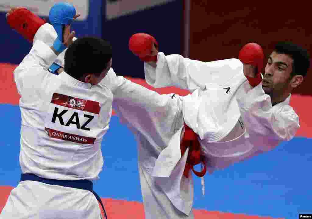 Казахстанский каратист Дидар Амирали в финале проиграл кувейтцу Али Абдулазизу и удостоился серебряной медали.