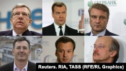 The beleagured Westernizers (clockwise from top left): Aleksei Kudrin, Dmitry Medvedev, German Gref, Sergei Aleksashenko, Arkady Dvorkovich, and Sergei Guriyev.