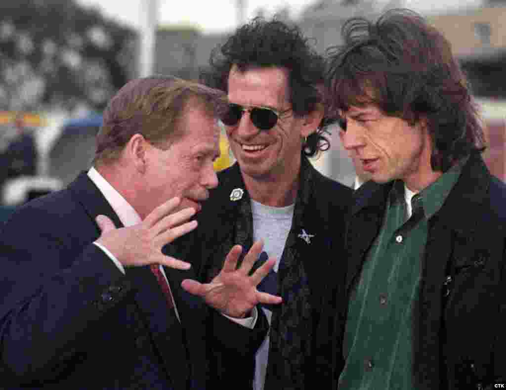 Havel chats with Keith Richards and Mick Jagger from the Rolling Stones while visiting Melbourne in 1995. At Havel's invitation, the Stones performed a landmark concert in Prague shortly after the collapse of communism in 1990. (Stanis Peska)