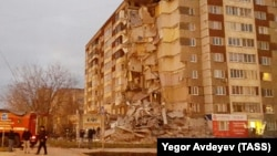 In all, 32 apartments were destroyed in a suspected gas blast in Izhevsk.