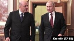 Ռուսաստանի նախագահ Վլադիմիր Պուտինը և վարչապետ Միխայիլ Միշուստինը կառավարության շենքում, Մոսկվա, 21-ը հունվարի, 2020թ.
