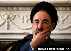 Former Iranian President Mohammad Khatami attends a meeting with supporters, in Tehran in 2009.