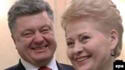 Президент Литвы Даля Грибаускайте (справа) и президент Украины Пётр Порошенко