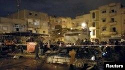 Бенгази қаласындағы жарылыс болған орын. Ливия, 23 қаңтар 2018 жыл.