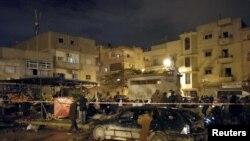 На месте двойного взрыва в ливийском городе Бенгази. 23 января 2018 года.