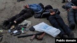 Пророссийские активисты, арестованные вблизи Славянска. 2 мая 2014 года.
