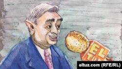 Карикатура Eltuz.com на кандидата в президенты Узбекистана Хатамжона Кетмонова.