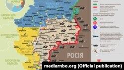 Ситуація в зоні бойових дій на Донбасі, 23 червня 2019 року. Інфографіка Міністерства оборони України