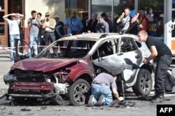 Машина, в которой находился Павел Шеремет. 20 июля 2016 г.